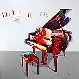 Kunst & Ambiente - Colours of Music - Cuadro al óleo con piano de 80 x 80 cm - Martin Klein - Cuadro musical - Cuadro de piano - Alas - Cuadro decorativo para pared - Cuadro acrílico sobre lienzo