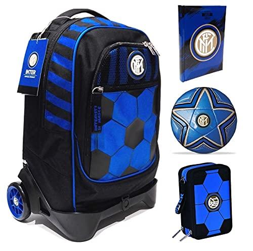 Scuola Seven Jack-2WD F.C. Inter - Trolley con mochila desmontable y estuche de 3 pisos Cross&Go + diario 2021/2022 + regalo balón y llavero de fútbol