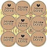 900pz Etichette Adesivi Rotonde Handmade With LOVE Per Sacchetti Bomboniere Regalo Festa Comunione Matrimonio Battesimo Compleanno Natale Ringraziamento