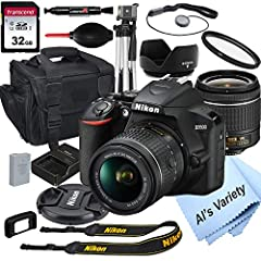 This Al's Variety Camera Bundle Includes: Transcend 32GB Class 10 SD Memory Card, 55mm UV (Ultra Violet) Filter , 55mm Tulip Threaded Lens Hood , Deluxe Camera Gadget Bag , 50 inch Professional Tripod , Lens Pen , Lens Blower, Lens Cap Keeper + Nikon...
