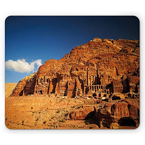 Jordanien-Mausunterlage, szenische Ruinen von historischer Fassaden-antiken Fiskus-Monument-Kultur Mousepad Petra-Schlucht, dunkelorangeblau