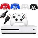 Microsoft Xbox One S 1TB Console, White, with 1 Xbox Wireless Controller - 1 Month Xbox Game Pass Trial - Family Christmas Holiday Bundle for Gaming - iPuzzle 4 Colors Silicone Cover + HDMI Cable