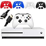 Microsoft Xbox One S 1TB Console, White, with 1 Xbox Wireless Controller - Family Home Christmas Holiday Bundle for Gaming - iPuzzle 4 Colors Silicone Cover + HDMI Cable