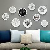 Paintsh All-Yue legno parete foto + Photo Frame parete creativa combinazione della parete della camera Heart-Shaped Decorazione tonda parete calda cornice foto, [9 Box] Tutto bianco +