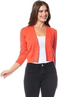 Women 3/4 Sleeve Solid Open Bolero Shrug Cropped Cardigan