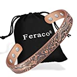 Feraco Copper Bracelets for Men Women Magnetic Therapy Bracelet for Arthritis Pain Relief Vintage Dragon Phoenix 99.9% Solid Copper Cuff Bangle