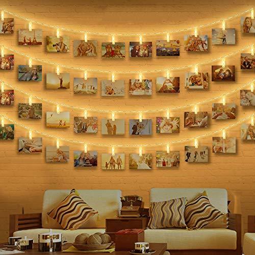 Clip Cadena de Luces LED, otumixx 40 Fotoclips 4,2M Foto Clips Cadena de luces LED Blanco Cálido Batería Adorno Guirnalda Luminosa LED para la ración decorativos colgantes de fotos notas ilustraciones