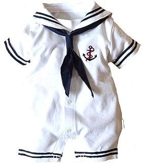 Baby Boys Girls Sailor One Piece Bodysuit Navy Romper Outfit Clothes Neckerchief