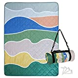 Exclusivo Mezcla Waterproof Picnic Blankets 3-Layer 60x80 Inches Large Sandproof Beach Blanket Foldable Outdoor Blanket for Camping on Grass Picnic Mat with 4 Windproof Stakes, Waved Blue