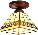 Lámpara de techo semiempotrada estilo Tiffany Lámpara de techo de cristal de color bronce antiguo para colgar iluminación de sala de estudio, balcón, pasillo o pasillo