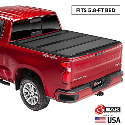 "BAK BAKFlip MX4 Hard Folding Truck Bed Tonneau Cover | 448120 | Fits 2014-18, 19 Limited/Legacy GM Silverado, Sierra: Limited/Legacy; 2014 1500, 15-19 ALL 5'8"" Bed, Premium Matte Finish"