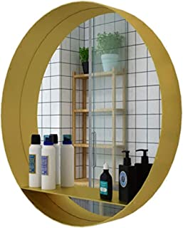 Qing MEI Nordic Gold Round Wall Mounted Mirror, Modern Minimalist Round Wrought Iron Dressing Table Decorative Mirror European Style Dressing Shelf (Gold) (Color : 40cm)