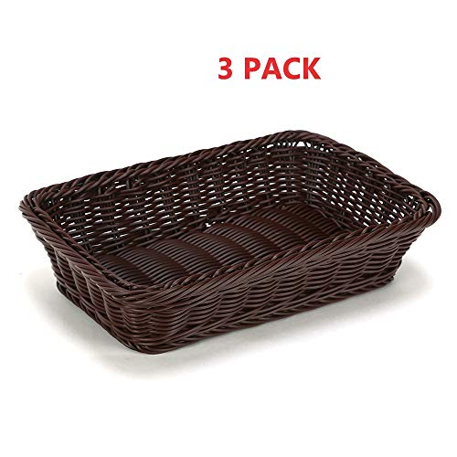 Oprass Rectangular Plastic Durable Storage Basket Easy to clean suitable for Families.Shops. Supermarkets Small Basket(Brown) Set of 3