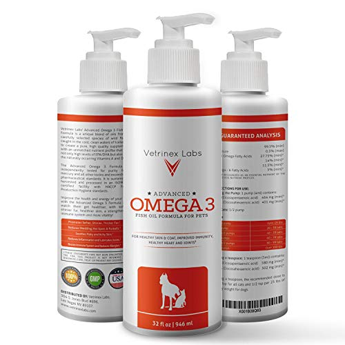 Vetrinex Labs Omega-3 Fish Oil for Dogs and Cats - All Natural, High EPA & DPA for Healthier Skin, Coat, Joints, Heart and Immune System (32 oz)