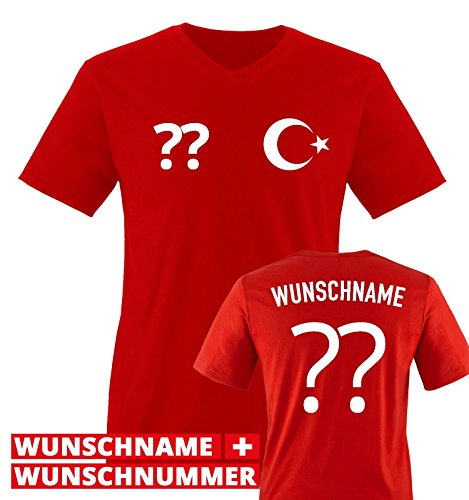 Trikot - TÜR - WUNSCHDRUCK - Herren V-Neck T-Shirt - Rot/Weiss Gr. L