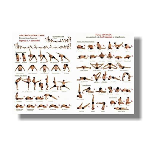 DNJKSA Póster de posturas de Yoga 64 asanas de Yoga para Entrenamiento de Cuerpo Completo, Entrenamiento en casa, Lienzo Impreso, Pintura de Arte de Pared para Sala de Estar, decoración del hogar