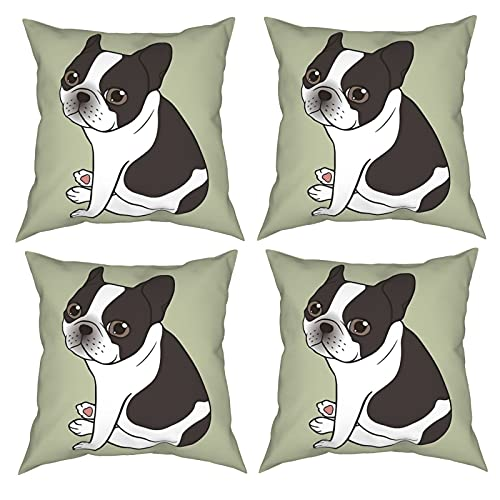 Throw Pillows for Couch Set of 4 Say Hello to The Cute Double Hooded Pied French Bulldog Cushion Bedroom Car,Home Decor