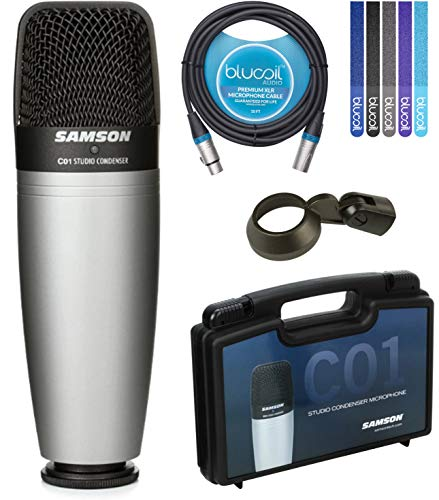 Samson C01 Hypercardioid Condenser Microphone for Studio Recording Bundle with Blucoil 10-FT Balanced XLR Cable, and 5-Pack of Reusable Cable Ties