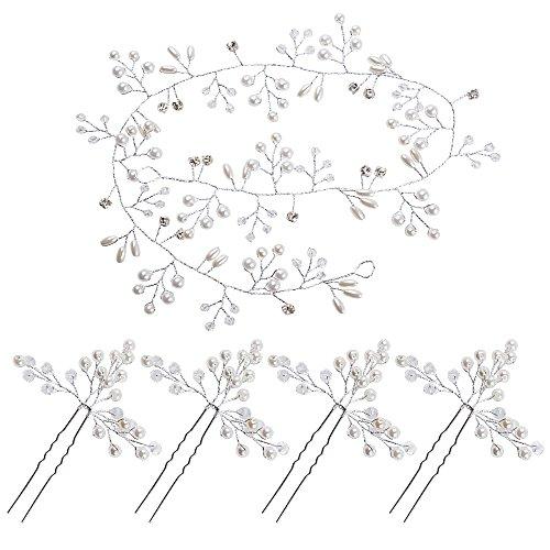 50cm Bijoux Cheveux Mariage Strass+4pcs Épingle Pince Accessoires Cheveux Perles Cristal Couronne Serre Tête Headband pour Femme Fille Demoiselle d'Honneur Fête Anniversaire (Argenté)