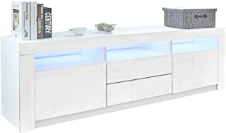 TV Cabinet Entertainment Unit Storage 2 Doors & 2 Drawers RGB LED Light High Gloss Front Wooden Modern 200cm - White