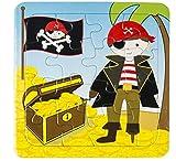 LG-Imports Puzzle de cofre del tesoro pirata Junior 14 cm 16 piezas