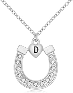 MANZHEN Silver Crystal Lucky Horseshoe with Initial Letter Love Heart Pendant Necklace