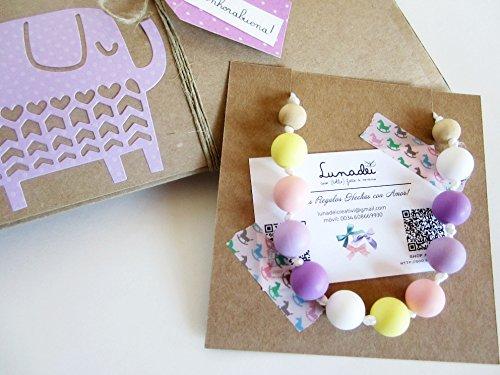 Collana per Allattamento (100% Silicone Alimentare Antibatterico, senza BPA e non tossico) + Scatola Regalo (Personalizzabile con il nome del Bebé)   Baby Shower Gift Idea   Modello \