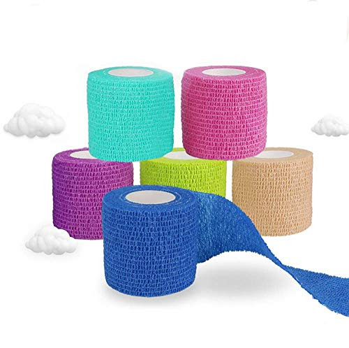 Cohesive Bandages 6 Rolls Pet Vet Wrap Self Adhesive Bandage Non woven Elastic Sports Bandages Cohesive Support Bandage Water Repellent Breathable for Wrist Ankle Sprains Swelling 6 Colour