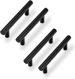 Probrico 10 Pack  3-3/4 Inch Hole to Hole Black Kitchen Cabinet Pulls & 15 Pack   3-1/2'' Cabinet Pulls Black Stainless Steel Kitchen Drawer Pulls Cabinet Pulls