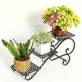 KK- Scala a schiera Supporti in Metallo Decorativi Pianta in scaffale per Vaso da Fiori per Vaso da Giardino in Acciaio Inox 3 Vaso da Fiori (Colore: Nero)
