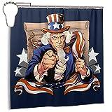 GSEGSEG Gseg Wasserdichter Polyester-Duschvorhang Uncle Sam Patriot amerikanische Flagge Bedruckt dekorativer Badezimmer-Vorhang mit Haken, 182,9 cm x 182,9 cm