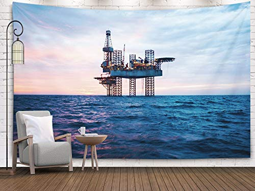 EMMTEEY Ocean Sunset,Big Tapestry,Wall Hanging Tapestry, Tapestries Décor Living Room Bedroom for Home Inhouse by Printed 80x60 Inches for Jack Up Rig in The Middle of Sea at Sunset Time