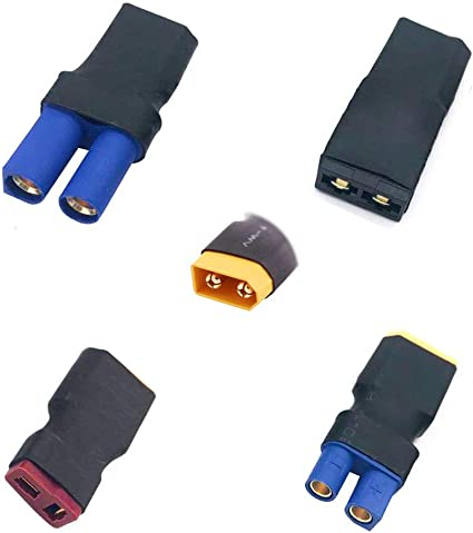 XT60 to EC5 Connector Male Female Adapter for RC Lipo Battery Charger Charging or Converting Plugs 3-Pack