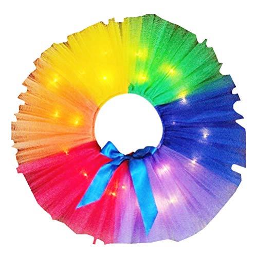 TENDYCOCO Mädchen Schöne Tutu Rock Party Kostüm Leuchtenden Regenbogen Rock Party Gaze Rock (Kurzer Stil mit 2M Licht Größe S 80-90)