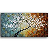YaSheng Art -100% Hand-Painted Contemporary Art Oil Painting On Canvas Texture Palette Knife Tree Paintings Modern Home Interior Decor Abstract Art 3D Flowers Paintings Ready to Hang 24x48inch