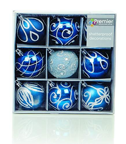 Juego de 9 adornos de árbol de Navidad azul medianoche de 6cm de Premier