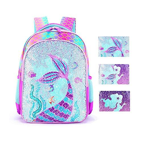 Reversible Sequin School Backpack Lightweight Little Kid Book Bag for Preschool Kindergarten Elementary (17', Mermaid)