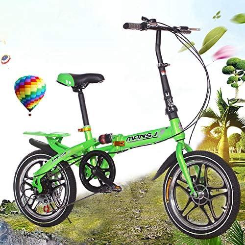 FJW Unisex-Fahrradtasche 16 Zoll 6 Geschwindigkeit Doppelscheibenbremse Aluminiumlegierung Integriertes Rad Student Kind Pendlerstadt Kohlenstoffreicher Stahl Fahrrad,Grün
