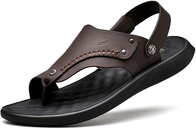 LQ Mens leather sandals Cowhide breathable toe beach shoes, sandal slippery sandals, polyurethane flat heel sandals (color   Brown, Size   6.5 UK)