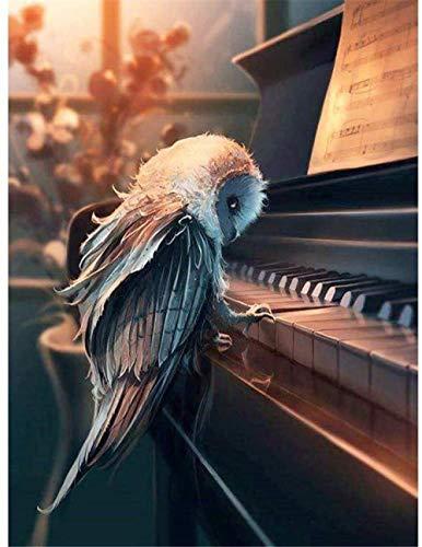 LSDEERE Malen Nach Zahlen Bilder Malen Für Erwachsene Eule Spielt Klavier Inklusive Pinsel Und Acrylfarben 40X50Cm