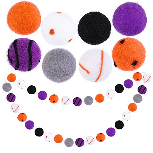 Aneco Halloween Felt Ball Garland Banners Halloween Dot Spiral Felt Ball Garland Halloween Hanging Felt Ball Garland 32 Pompom Balls for Halloween Party Decoration