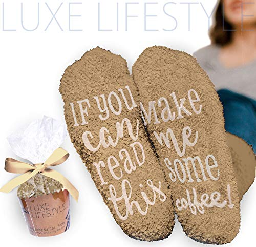 LUXE LIFESTYLE If You Can Read This Bring Me Some Coffee! - Funny Socks Cupcake Gift Packaging Thermal Fuzzy Warm Cotton Wife Women Hostess Housewarming Novelty Romantic Birthday Present Coffee Lover