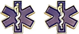 Star of Life Collar Gold Lapel Pin Set of 2 SOL EMT Paramedic Medical EMS - A 72