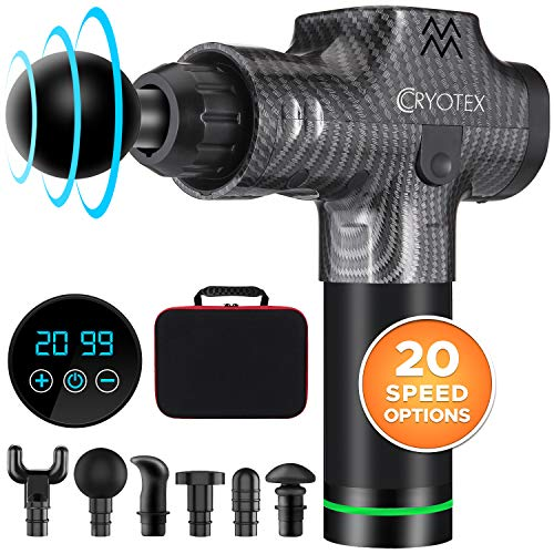Cryotex Massage Gun – Deep Tissue Handheld Percussion Massager – Six Different Heads for...
