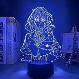 Lámpara LED de luz nocturna de acrílico Anime Violette Evergarden para dormitorio, habitación decorativa luz nocturna, regalo de cumpleaños, lámpara de mesa 3D Manga HYKK