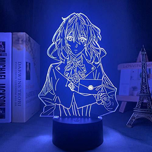 Lámpara de noche 3D Anime Illusion lámpara de acrílico LED luz nocturna anime violeta Evergarden para dormitorio decorativa habitación luz nocturna regalo 3D lámpara de mesa Manga HAFS