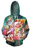 Goodstoworld Sportjacken Langarm Unisex Lustige Hässlich 3D Pizza Schwein Druck Hoodies Strickjacken Sweatjacke Kapuzenpullover Mit Reißverschluss Schwein und Katze M
