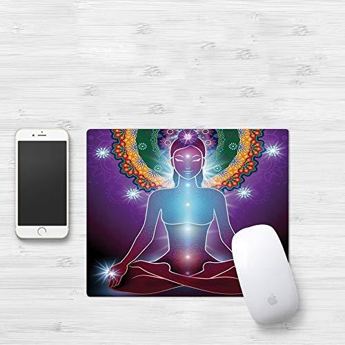 Mauspad mit genähten Kanten,Yoga, Innerer Frieden Kundalini Yantra Mystische Östliche Energie Guru Esoter,rutschfeste Gummi-Basis-Mousepad, Gaming und Office mauspad für Laptop, Computer & PC320x250mm