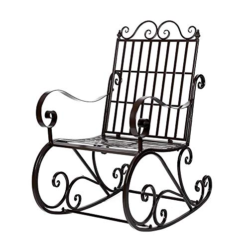 Garden Single Rocking Chair, Retro Country Style Metal Rocking Chair Reclining Garden Chairs Backyard Lounger Rocking Chairs Lazy Chair for Adults Single Person