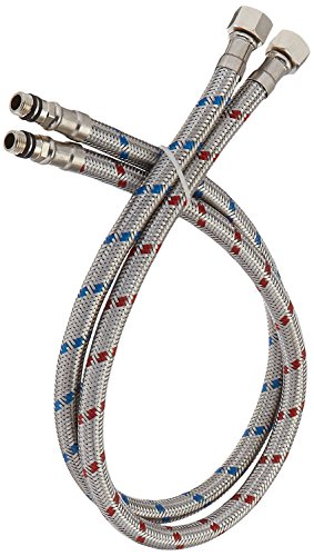 BWE 32-Inch Long Bathroom Kitchen Faucet Connector, Braided Stainless Steel Supply Hose 3/8-Inch...